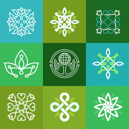Vector abstract ecology symbols - outline emblems and green signs Vector