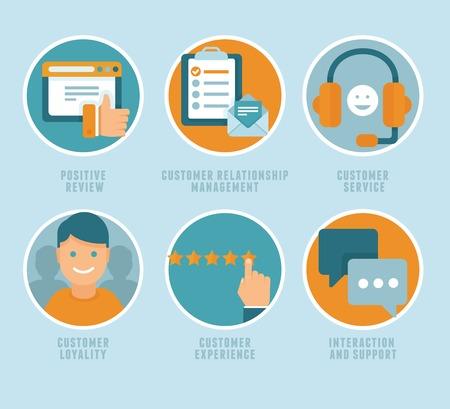 벡터 평면 고객 경험의 개념 - 아이콘과 인포 그래픽 디자인 요소 - 긍정적 인 검토, 고객 서비스 및 지원