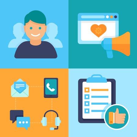 dienstverlening: Vector platte customer service concept - pictogrammen en infographic design elementen - klantervaring Stock Illustratie