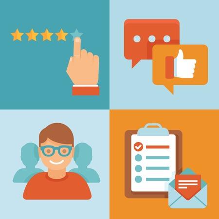 vélemény: Vector lakás ügyfélszolgálat koncepció - ikonok és infographic design elemek - ügyfél tapasztalata