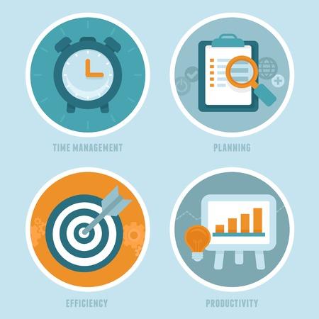 productividad: conceptos de gestión del tiempo en estilo plano