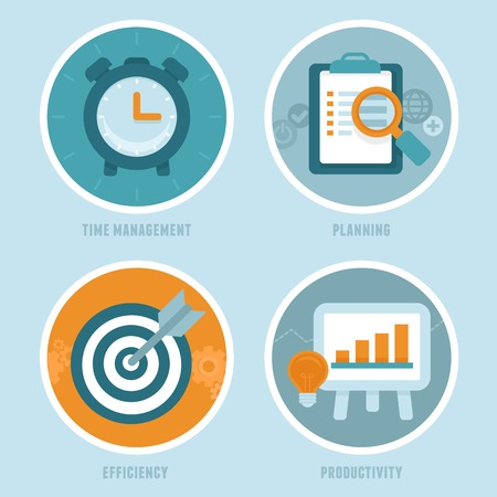 business time: time management concepts in flat style