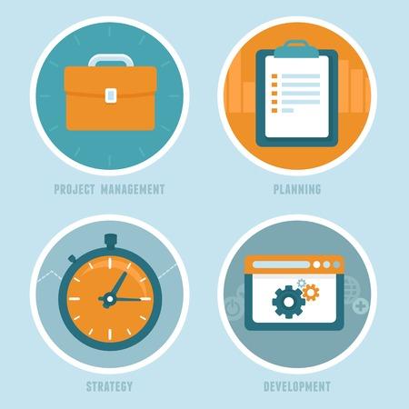 productividad: conceptos de gestión de proyectos en estilo plano
