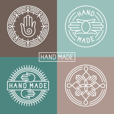 hand made label in outline trendy style - hands icon and text Çizim