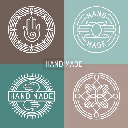 handgemaakte label in outline trendy stijl - handen pictogram en tekst