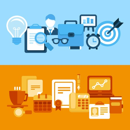 business and management illustrations in flat style - header and banners Vector