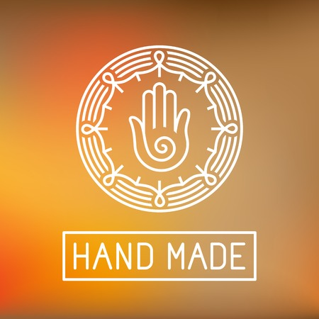 hand craft: hand made label in outline trendy style - hands icon and text Illustration