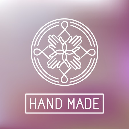 hand made label in outline trendy style - hands icon and text Ilustração