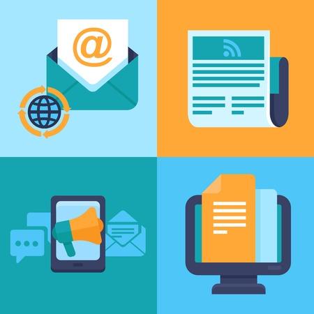 e-mail marketing concepten - plat trendy pictogrammen - nieuwsbrief en abonnement Stock Illustratie