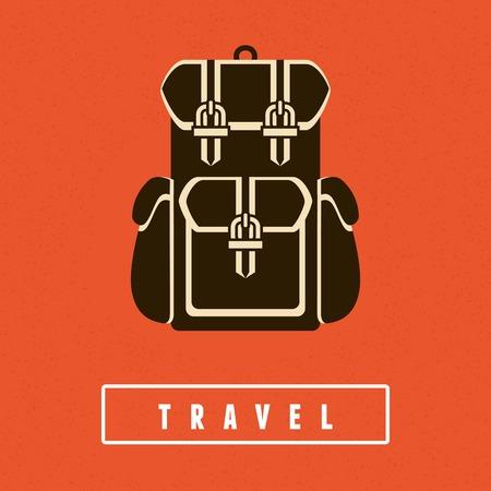 평면 스타일 배낭 아이콘 - 여행 포스터