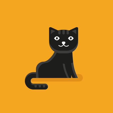 puss: cat icon in flat style - funny character on yellow background
