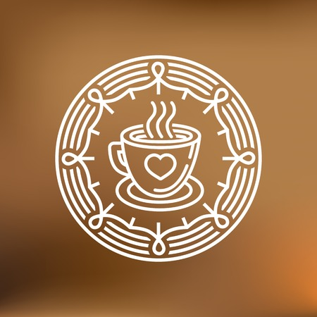 hot house: coffee mug on round emblem - outline graphic design element