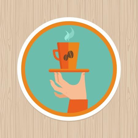coffee mug on round emblem - flat graphic design element Vector