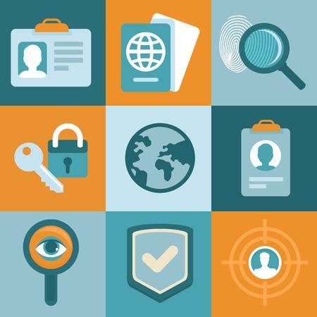 autorizacion: conceptos de identificaci�n en estilo plano - iconos y signos