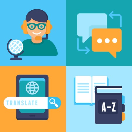 flat trendy icons - translation and foreign languages - studying and interpretation