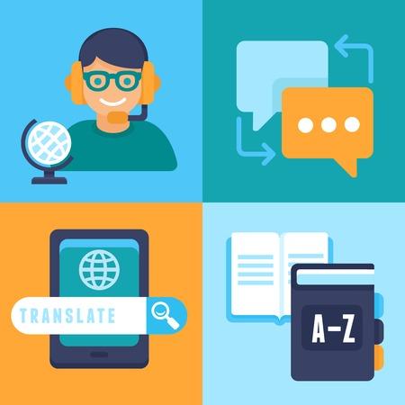 plat trendy pictogrammen - vertaling en vreemde talen - het bestuderen en interpreteren