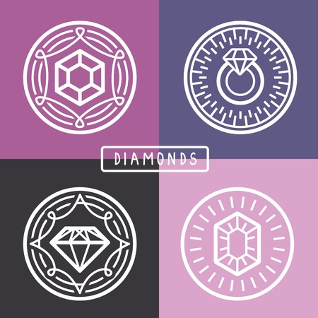 jewerly: jewelry signs and emblems - in outline trendy style - abstract graphic elements Illustration