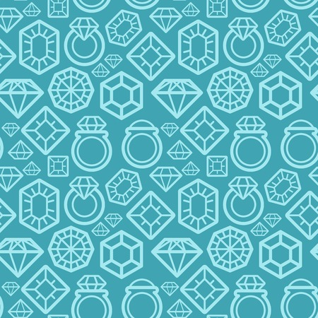seamless pattern with gem and diamond icons - texture and design element Vector