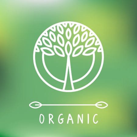 abstract emblem - outline monogram - tree symbol - concept for organic shop 向量圖像