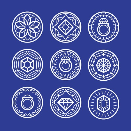 bijouterie: jewelry signs and emblems - in outline trendy style - abstract graphic elements Illustration