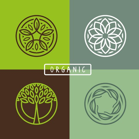 leaf: abstract emblem - outline monogram - ecology sign and icons