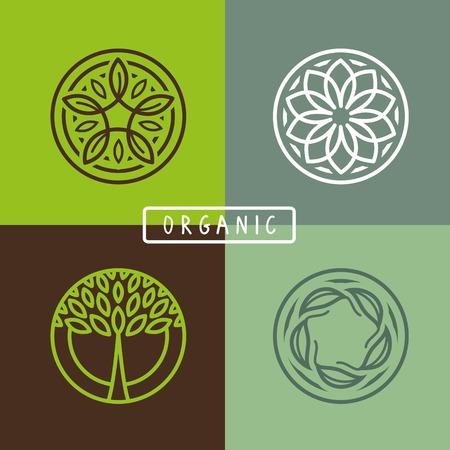 natur: abstrakte Emblem - Umriss Monogramm - Ökologie Zeichen und Symbole