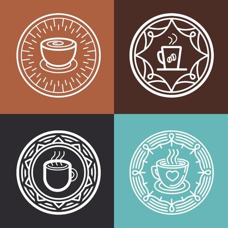 hot cocoa: coffee mug on round emblem - outline graphic design element  Illustration