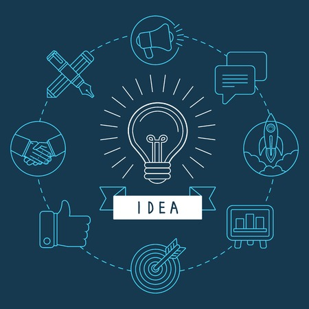 think up: creative idea concept in outline style - innovation process illustration
