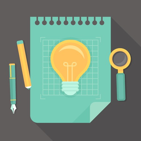 think up: creative project - icon in flat style - innovation concept  Illustration