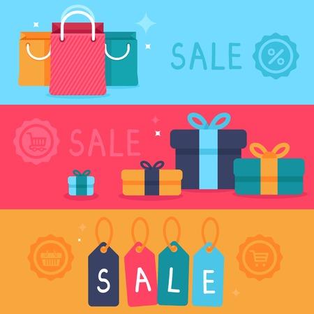 verkoop concept in vlakke stijl - banners en website headers met boodschappentassen en prijskaartjes