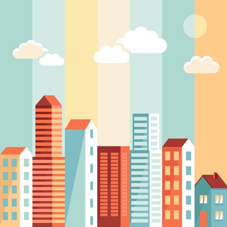 city illustration in flat simple style