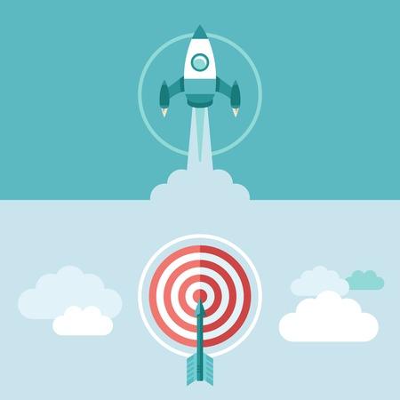 cohetes: puesta en marcha conceptos sobre banners horizontales de estilo plano