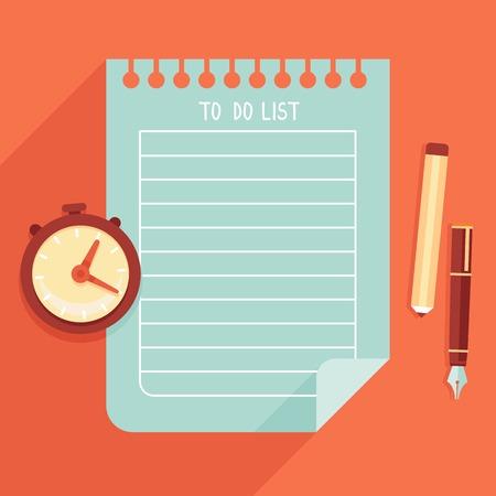 illustratie in vlakke stijl - naar lijst op notebook pagina te doen