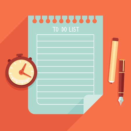tasks: illustration in flat style - to do list on notebook page Illustration