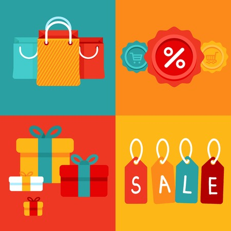 Vector sale concept in flat style - banners with shopping bags and price tags Vector