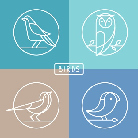 Vector bird icons in outline style - sparrow, owl and pigeon - abstract icons and emblems Illustration