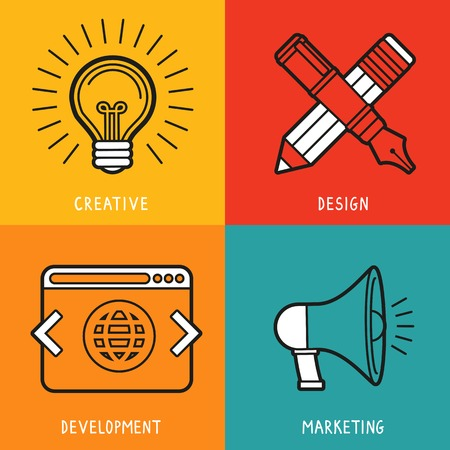 Vector business services icons in outline flat style - marketing, creative idea, design and deveopment Vector