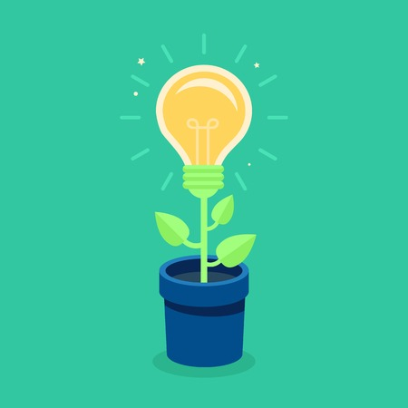 think green: Vector creative concept in flat style - light bulb growing from the flower pot - idea icon