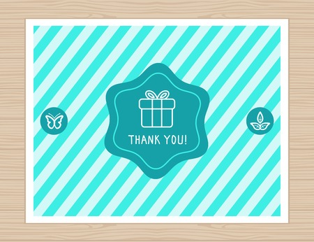 Vector thank you card in flat style - greeting card with striped background with present icon Vector