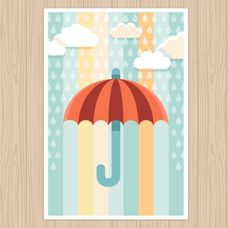 Vector postcard on wooden background - bright illustration in flat style - striped umbrella and rain drops Vector