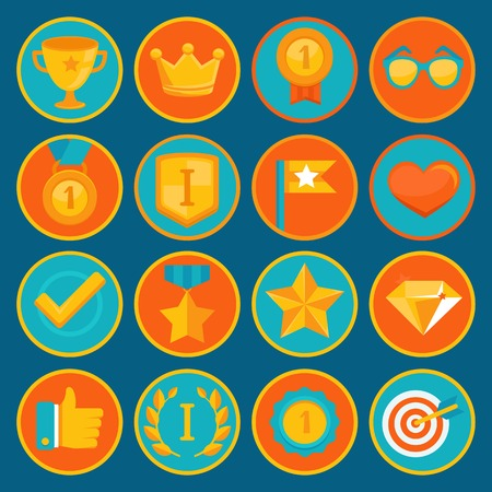 involvement: Vector set of 16 flat gamification icons - achievement badges in trendy style for apps and websites, involvement in participation in online business and education Illustration