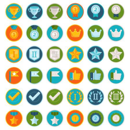 Vector set de 36 icônes plates gamification - badges de réussite dans le style à la mode pour les applications et les sites Web, la participation de la participation dans les affaires et l'éducation en ligne