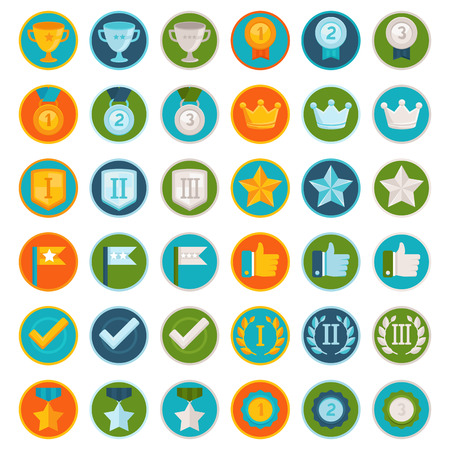gold silver bronze: Vector set of 36 flat gamification icons - achievement badges in trendy style for apps and websites, involvement in participation in online business and education