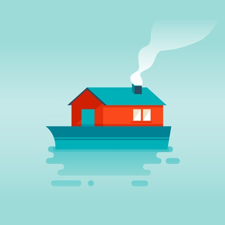 house float on water: Vector flat icon - ship on the water