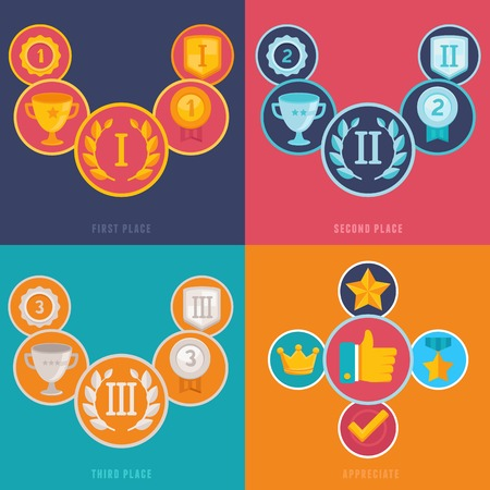 Vector gamification icons and signs in flat style - first, second and third places and prizes - achievement badges Vector