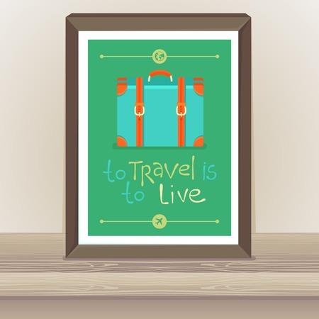 �tag�re bois: affiche de vecteur dans le style r�tro plat - Pour Voyage est � vivre - pancarte dans le cadre sur l'�tag�re en bois