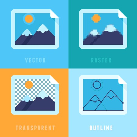 Vector flat icons - different image formats and styles  Vector