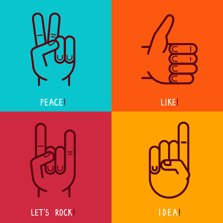 rock hand: Vector set of outline icons - gestures and signs - like, peace, rock and idea