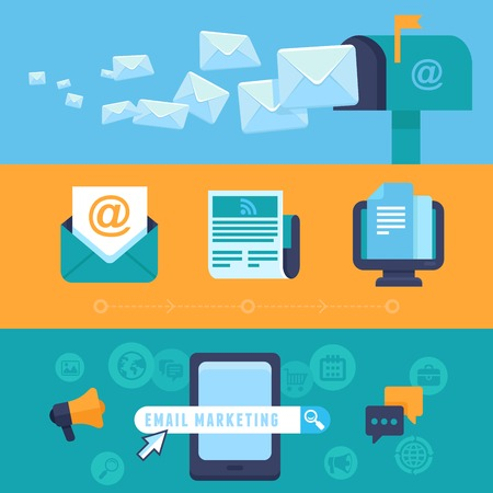 mail: Vector email marketing concepts - flat trendy icons - newsletter and subscription - bright illustrations for horizontal banners or headers