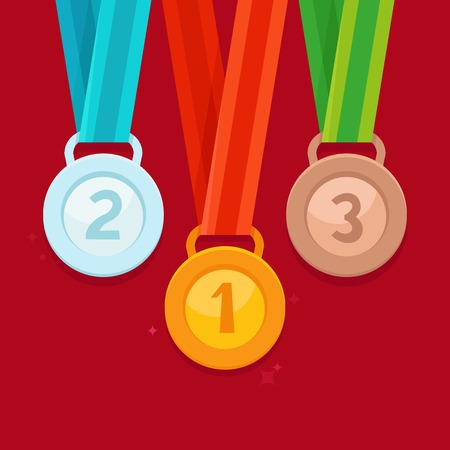 bestowal: Vector three winning places concept - golden, silver and bronze medals in flat style